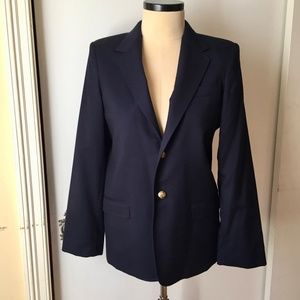 Talbots Kids Navy Wool Sports Coat Brass Button 18